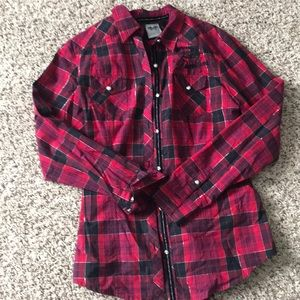 Harley Davidson lace up red flannel